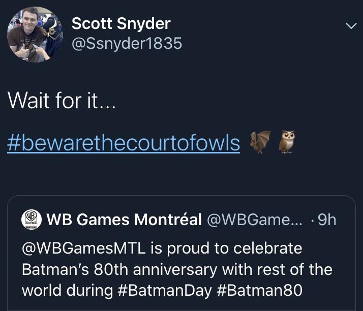 Scott Snyder Tweet
