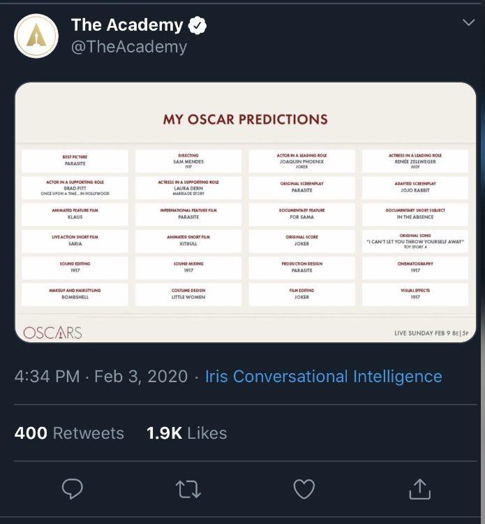 Un léger bug semble faire croire que l'Académie des Oscars a publié elle-même ses propres prédictions concernant la remise des prix