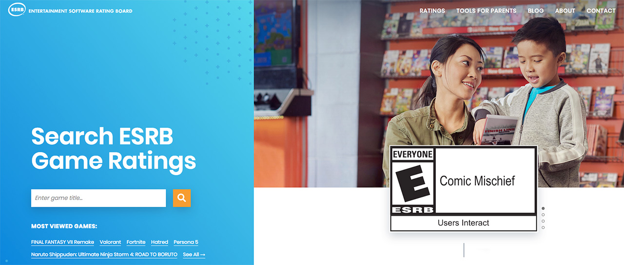 ESRB (Entertainment Software Rating Board), Accueil