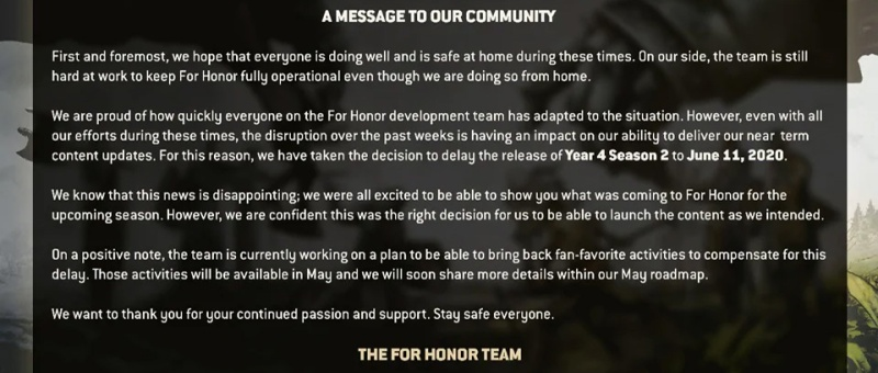 Ubisoft Montréal retarde la sortie de la Saison 2 de l'An 4 pour For Honor, dû aux restrictions du télé-travail en vigueur à Montréal