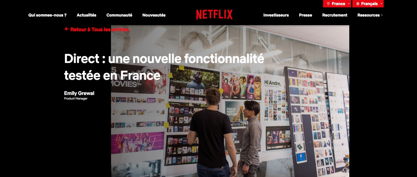 Netflix Direct - France as a testing grouund